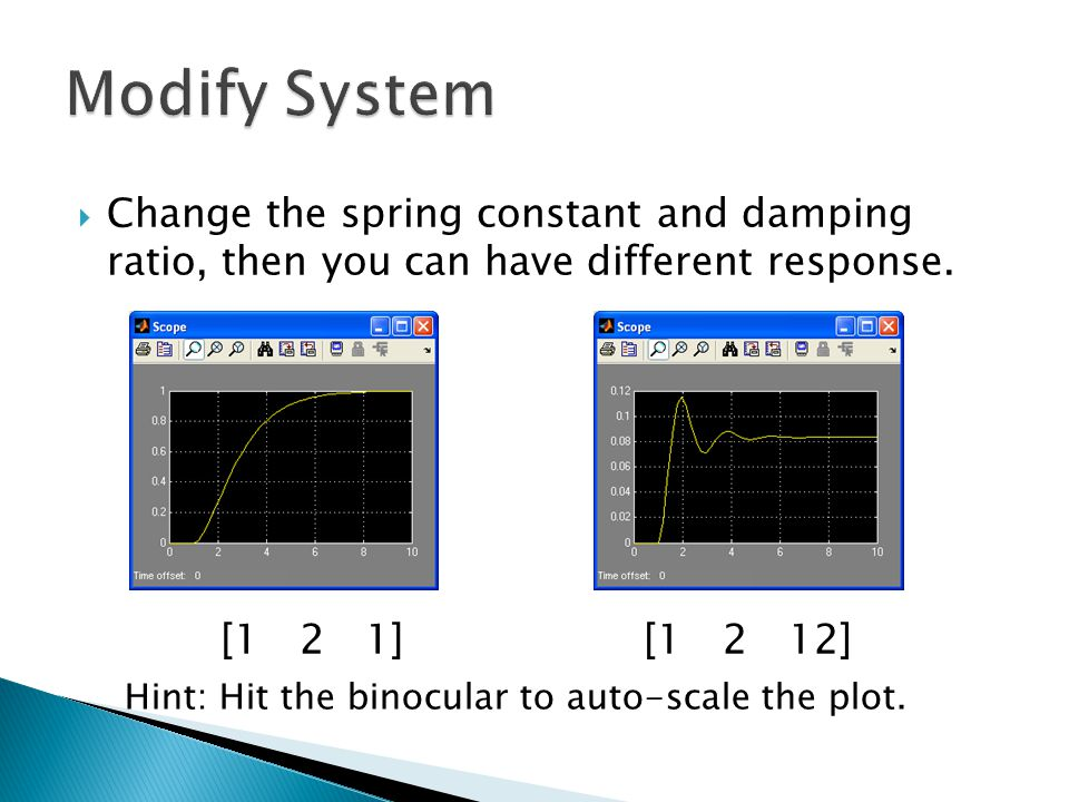 Modify System Change the spring constant and damping ratio, then you can have different response. [1 2 1]